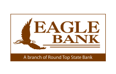 round top state bankthe words \u0027round top state bank\u0027 with a star in the color brown a flying eagle with the text \u0027eagle bank a branch of round top state bank\u0027 with a border